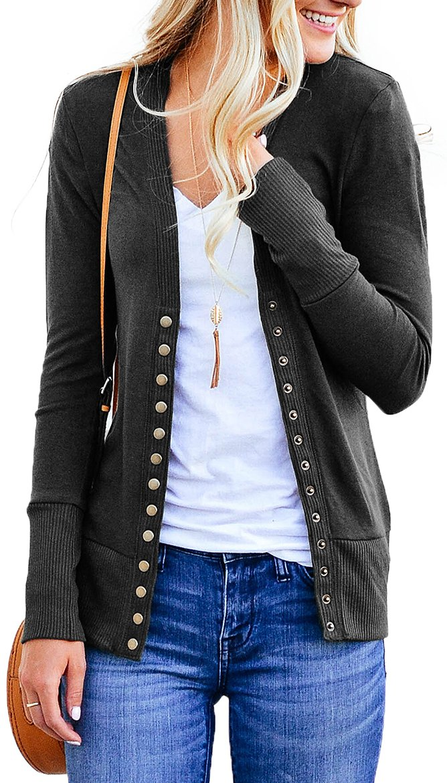 NENONA Women's V-Neck Button Down Knitwear Long Sleeve Soft Basic Knit Snap Cardigan Sweater(Charcoal-S)
