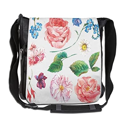 Lovebbag Bouquet Set With Rose Daisy Petals And Branches Shabby Chic Vintage Picture Crossbody Messenger Bag
