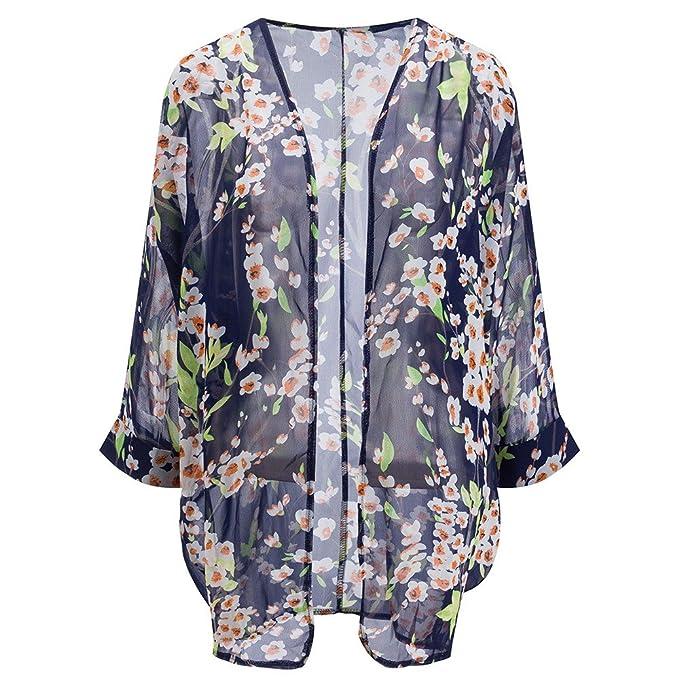 Beauty7 Blusa Gasa Kimono de Estampado Floral Flores Cereza Rosas Impresión Bikini Cubrir Vacaciones Vacación Verano