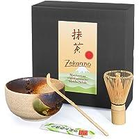 Zekaano SET Cuenco de té Matcha Chawan Beige/Marrón hecho a mano, Chasen + Chas Haku tradicional. Aricola®
