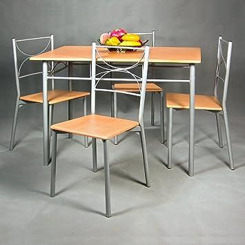 Bon Ensemble Table Et 4 Chaises Cuisine Salle à Manger Set   Couleur Gris Et  Hêtre