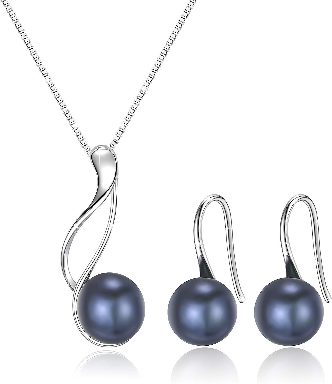 E.INFINITY Set de Pendientes y Collar de Negro Perlas de Agua Dulce y Plata de Ley 925 para Mujeres