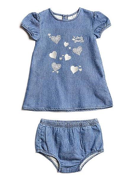 new products f5a4e 82a65 GUESS # neonato A81K06W8S40 Abito Bambina Blu 18M: Amazon.it ...