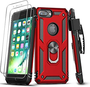 LeYi iPhone 8 Plus Case, iPhone 7 Plus Case, iPhone 6 Plus Case with Tempered Glass Screen Protector, Military Grade Phone Case with Belt Clip Kickstand Magnetic Mount for Apple iPhone 6s Plus, Red