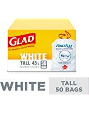Glad White Garbage Bags - Tall 45 Litres - ForceFlex, Drawstring, with Febreze Fresh Clean Scent, 50 Trash Bags