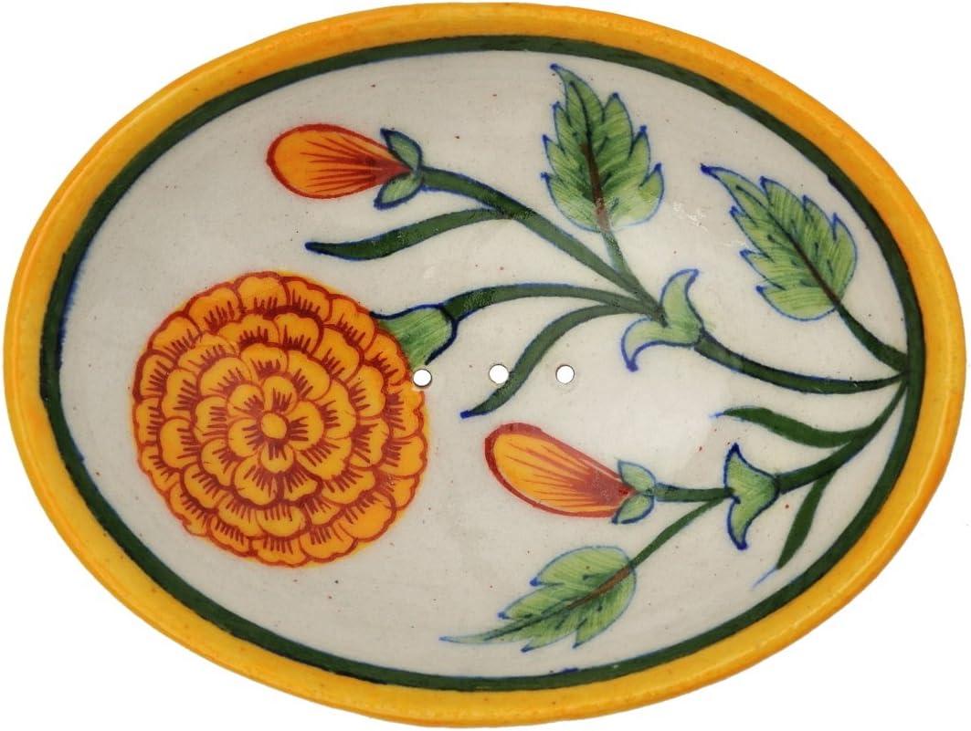 Jabonera flor de naranja con agujeros para el drenaje del agua de 13 x 9,5 x 2 cm