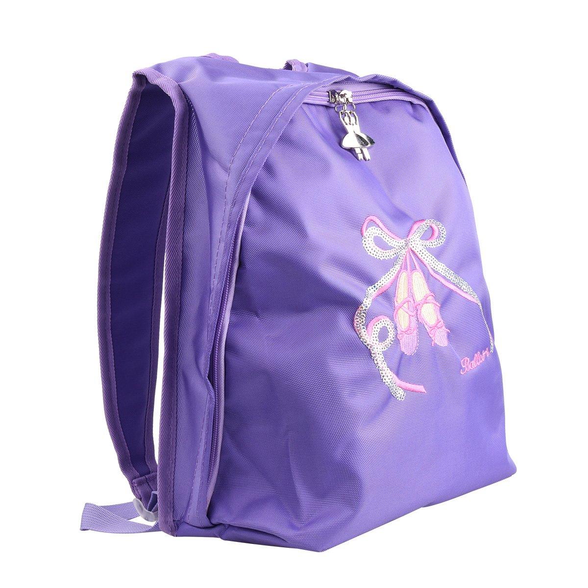 iEFiEL Girls Big Capacity Ballet Dance Tote Bag Travel Carry Shoulder Bag Purple One Size
