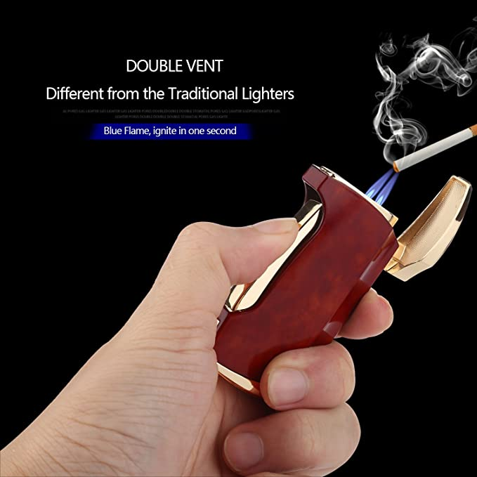 VVAY Jet Lighter, Windproof Cigarette Cigar Turbo Lighter Twin Flame Gas  Butane Refillable Torch Lighter, Metal for Man Red (Sold without Gas)