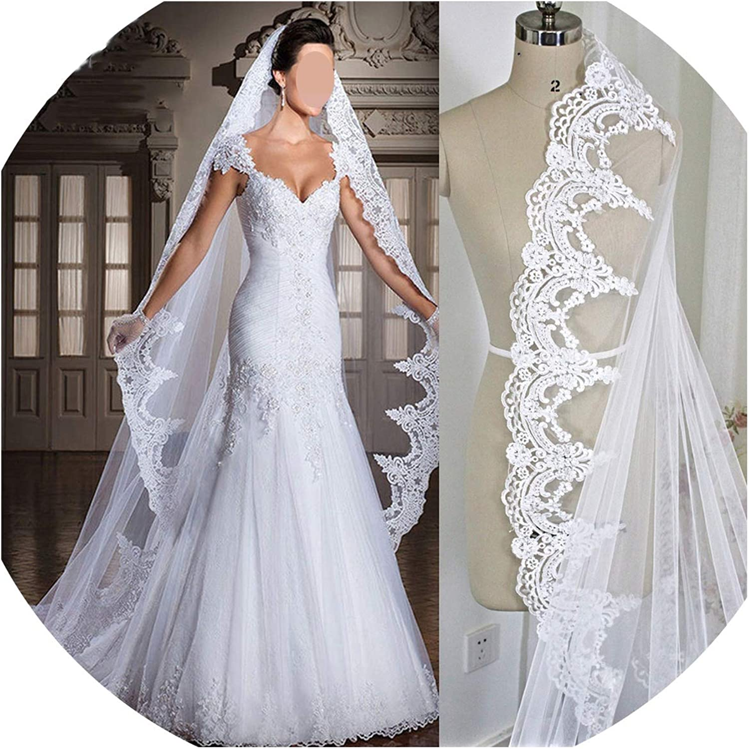 White//Ivory 1 Layer Wedding Veil Bridal Veils Lace Edge With Comb