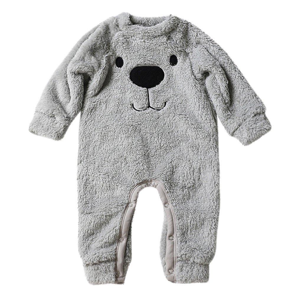 Robemon vêtement bébé épais Sweater Bande dessinée Ours Enfant Barboteuse Chaud Peluche Pyjama Combinaison 6-18Mois