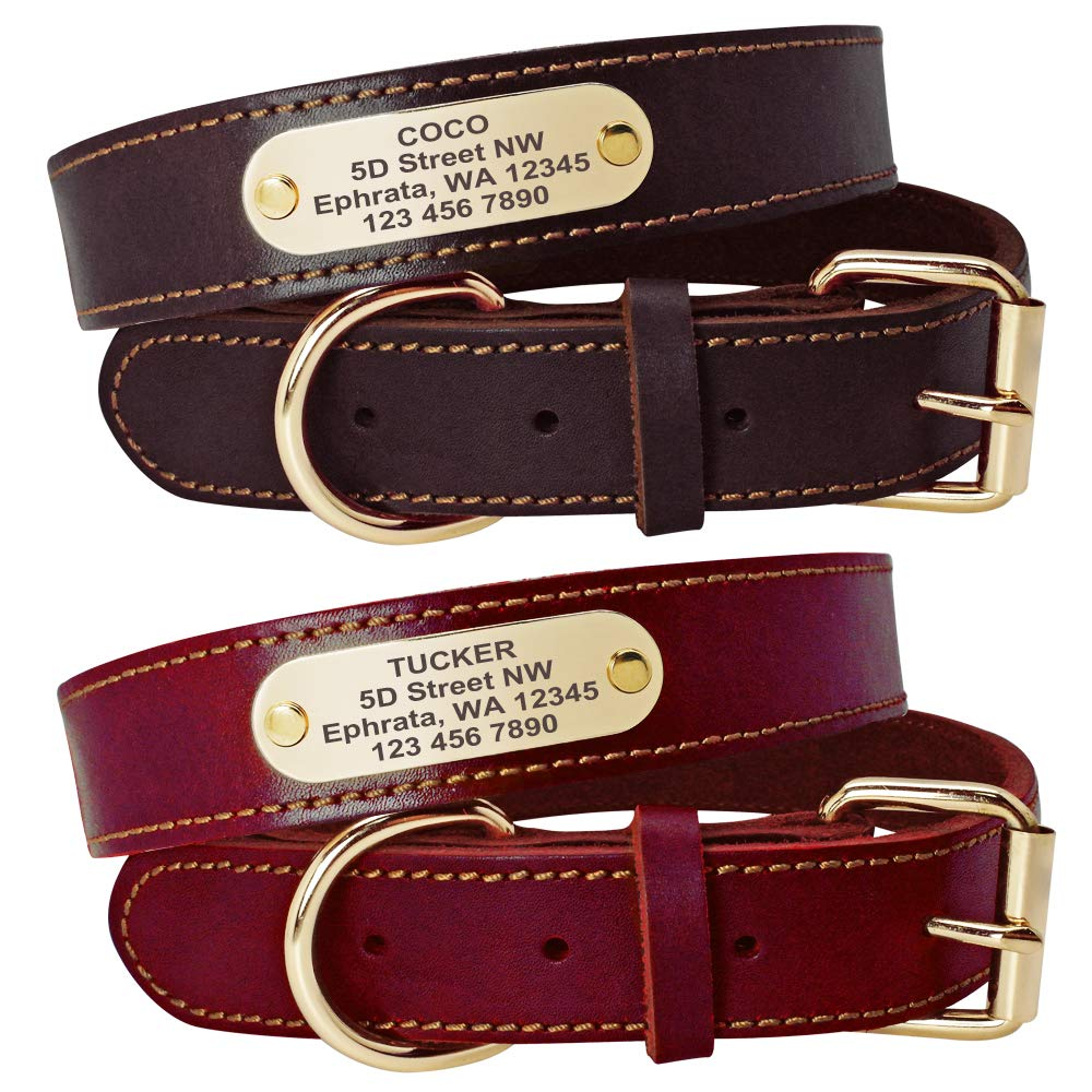 Beirui Genuine Leather Personalized Dog Collars with Nameplate ID Tags, Custom Dog Collars Engraved for Medium Large Dogs,Rich Brown,L(1.3'' Width,18.5-24'' Neck)