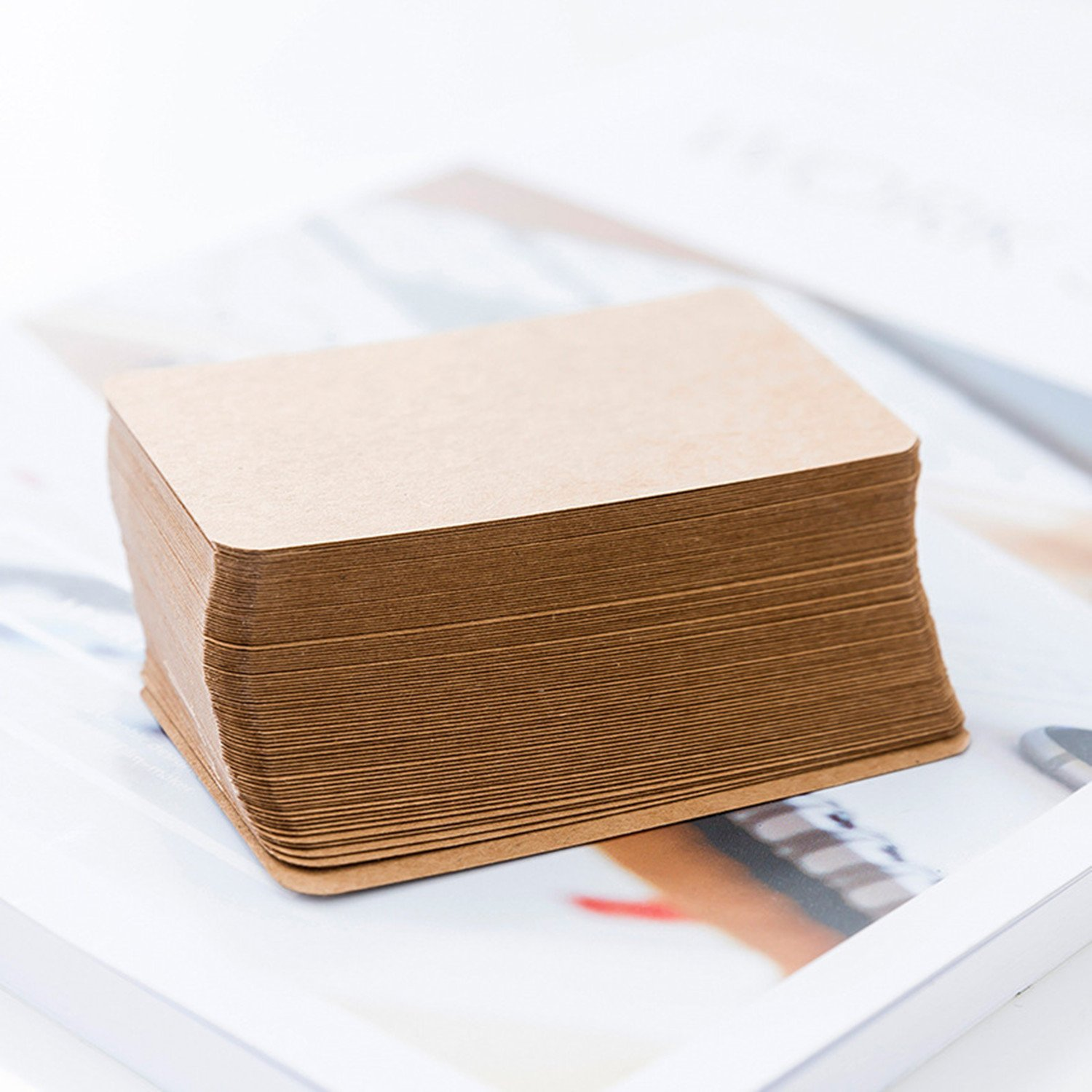 Syndecho 200pcs Blank Kraft Paper Business Cards Word Card Message Card DIY Gift Card 8.5 * 5cm (White)