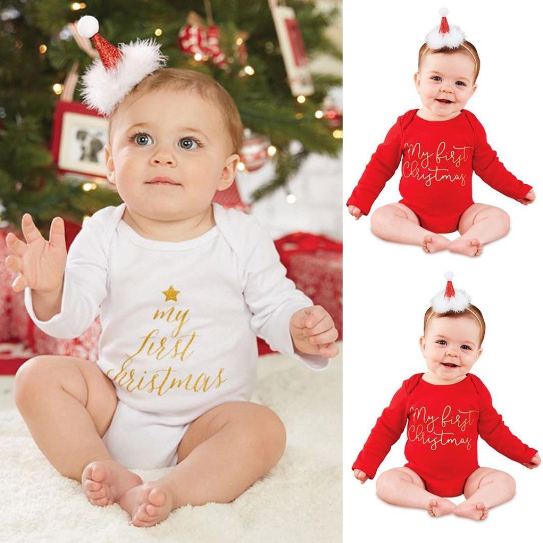 Baby Ropa para mi primer Navidad, janly® Niños Pequeños Carta Pelele Niños Algodón o de Neck Bodies blanco Weiß Talla:Alter: 6-12 Monate: Amazon.es: Bebé