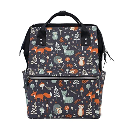 dfb4b409cae5 Amazon.com: Cute Woodland Animal Owl Fox Hedgehog Diaper Bag Backpack,  Large Capacity Muti-Function Travel Backpack Nappy Bags Travel Mom Backpack  for Baby ...