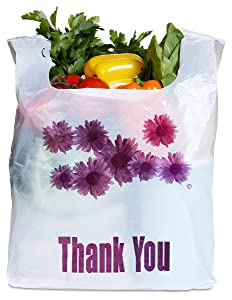 Purple Flower Thank You Plastic Heavy Duty Shopping Bags - 500 pcs/case