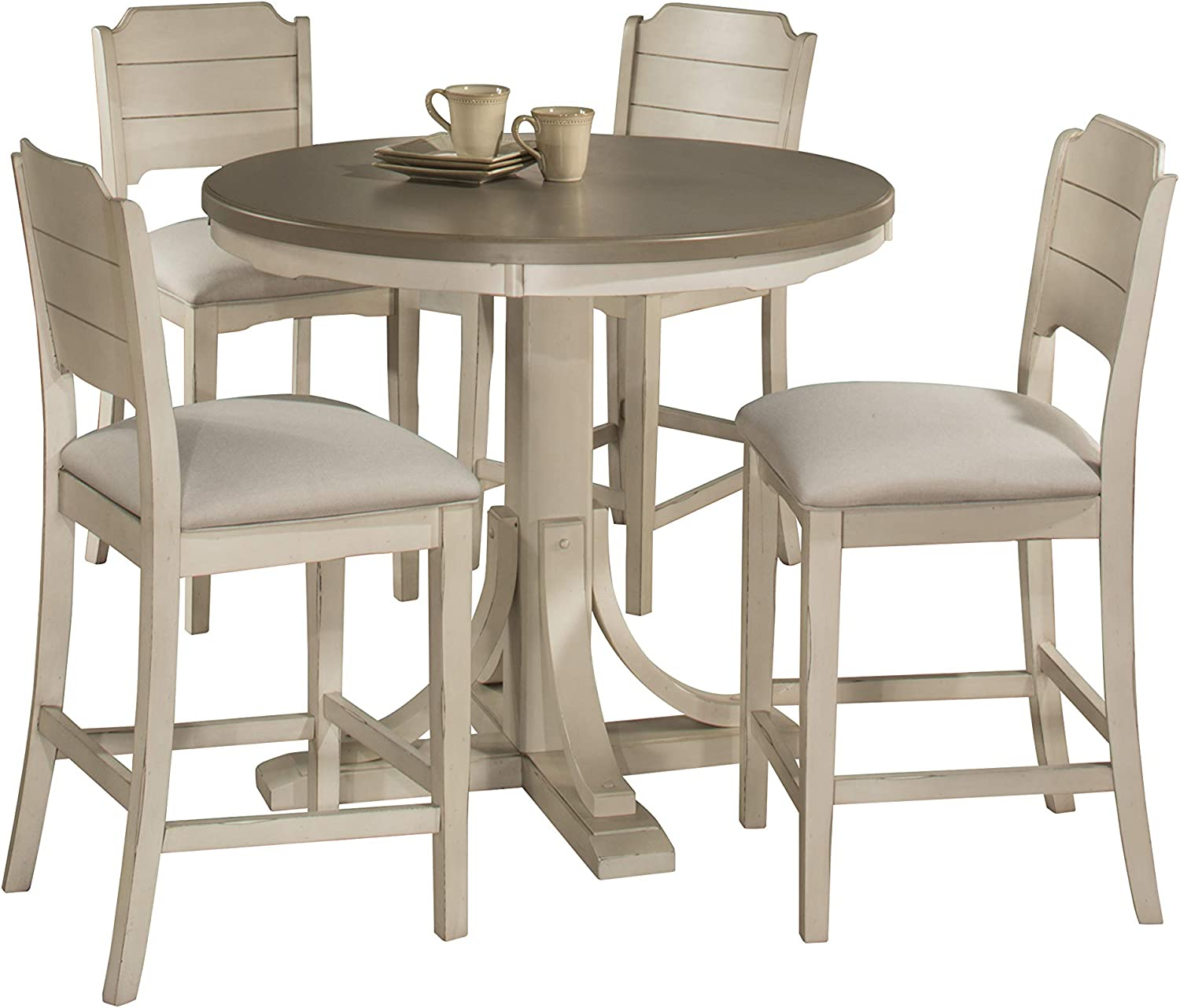Hillsdale Furniture Hillsdale Clarion Round Counter Height Open Back Stools Distressed Gray Sea White 5 Piece Dining Set Table Chair Sets
