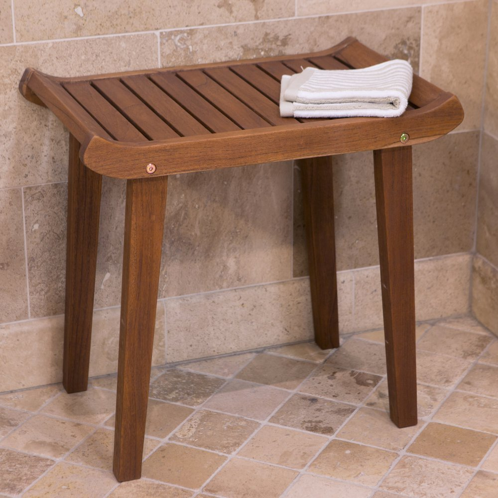 Belham Living Curved Seat Teak Shower Bench