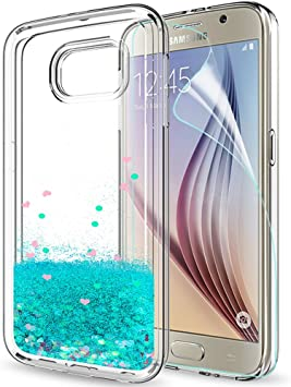 LeYi Compatible with Funda Samsung Galaxy S6 Silicona Purpurina ...