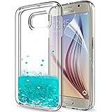 LeYi Custodia Samsung Galaxy S6 Glitter Cover con HD Pellicola,Brillantini Trasparente Silicone Gel Liquido Sabbie Mobili Bumper TPU Case per Galaxy S6 Telefonino Donna ZX Turquoise
