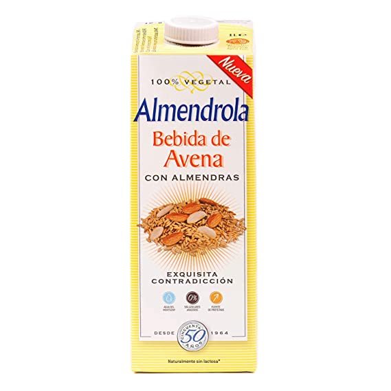 Almendrola Bebida Vegetal de Avena con Almendras - Paquete de 6 x 1000 ml - Total