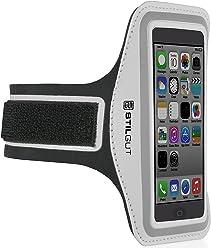 Brassard StilGut pour iPhone SE & 5/5s, Galaxy S4 mini, LG G2 mini (appareils 4 pouces), argent