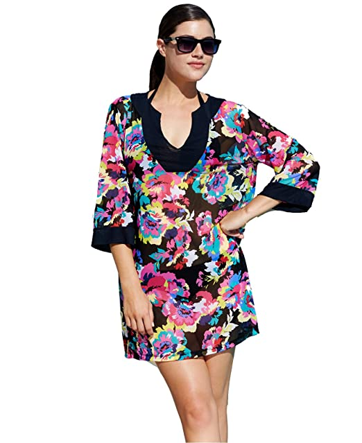 c492a724bd Anne Cole Floral Print Tunic Bathing Suit Cover Up (Small/Medium, Multi  Color) at Amazon Women's Clothing store: