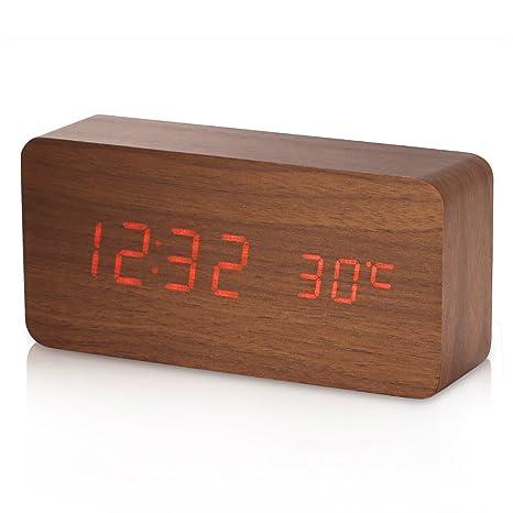 Amazon.com: Reloj despertador, Yokkao Madera Reloj LED de ...