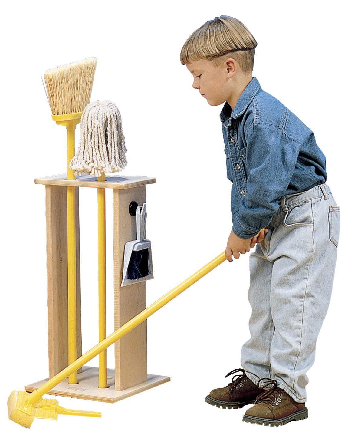 Childcraft Housecleaning Stand with Tools, 11-1/2 x 11-1/2 x 23-1/4 Inches, Set of 5