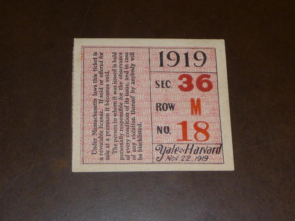 1919 HARVARD VS YALE COLLEGE FOOTBALL TICKET STUB