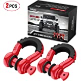 """Nilight 2 Pack 3/4"""" D-Ring Shackle 4.75 Ton (9500 Lbs) Capacity with 7/8"""" Pin Heavy Duty Off Road Recovery Shackle with Isola"""