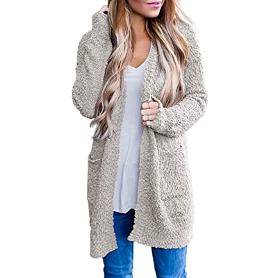 MEROKEETY Women's Long Sleeve Soft Chunky Knit Sweater Open Front Cardigan Outwear with Pockets at Women's Clothing store
