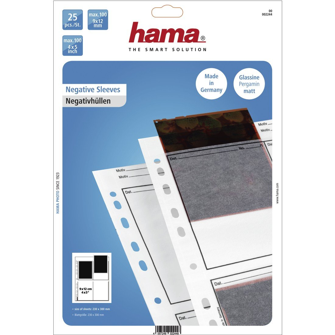each holding 4 strips of 6 x 7 cm or 6 x 9cm Frames Hama 2259 Negative File Storage Sleeves Pack of 100 Glassine
