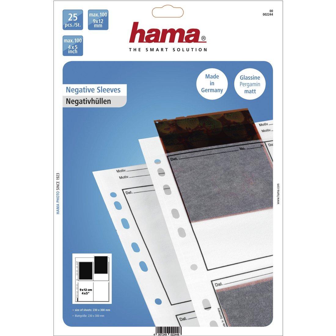 Hama Negative File Storage Sleeves, Each Holding 4 Single 9 x 12 cm Frames, Glassine (Pack of 25)