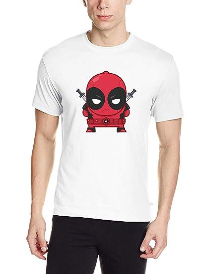 Dinngo Men S White Cotton T Shirt Cute Baby Deadpool T Shirt