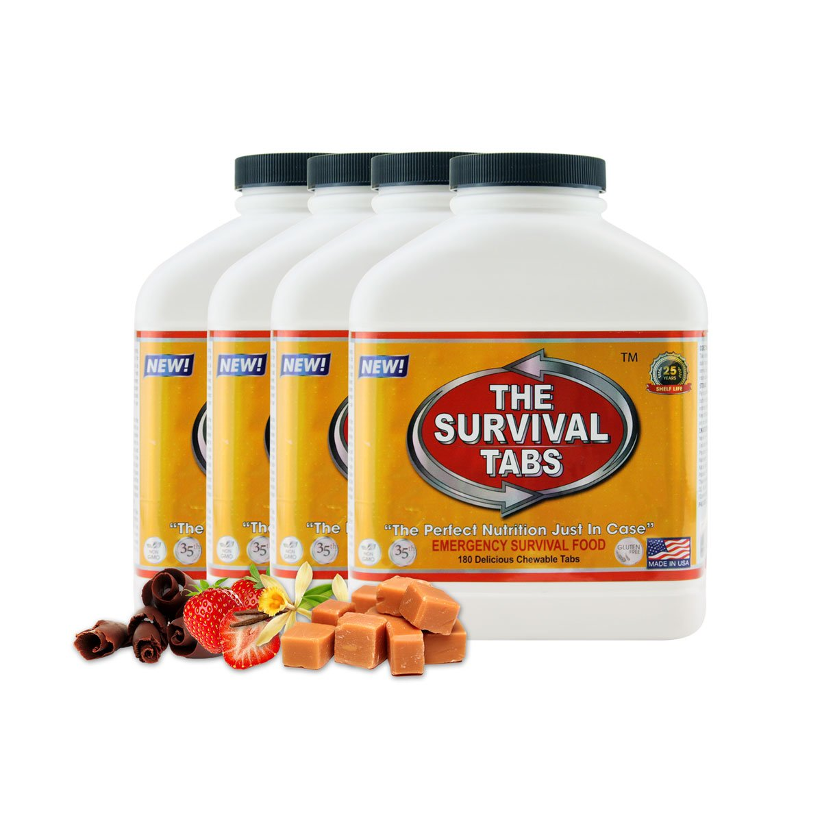 Survival Tabs 60-Day 720 Tabs Emergency Food Ration Survival MREs Food Replacement for Outdoor Activities Disaster Preparedness Gluten Free and Non-GMO 25 Years Shelf Life Long Term - Mixed Flavor LOHAS FARMS