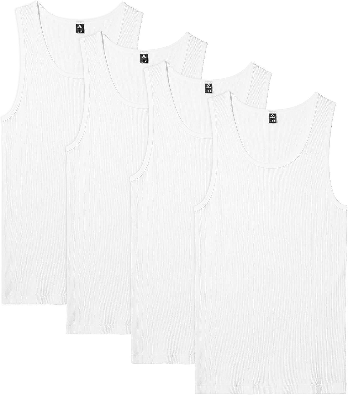 LAPASA Men's 100% Cotton Ribbed Tank Tops Sleeveless Crewneck A-Shirts Basic Solid Undershirts Vests 4 Pack M35