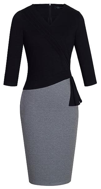 buy popular eab78 58717 HOMEYEE - Vestito da ufficio da donna, elegante, scollo a V