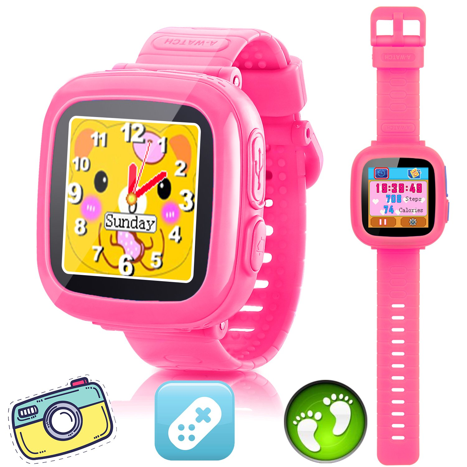 GBD Kids Game Watch,1.5'' Touch Smart Watches for Summer Birthday Gifts Travel Camping Kids Boys Girls with Pedometer Camera Alarm Clock Electronic Learning Toys (02Pink) by GBD (Image #1)