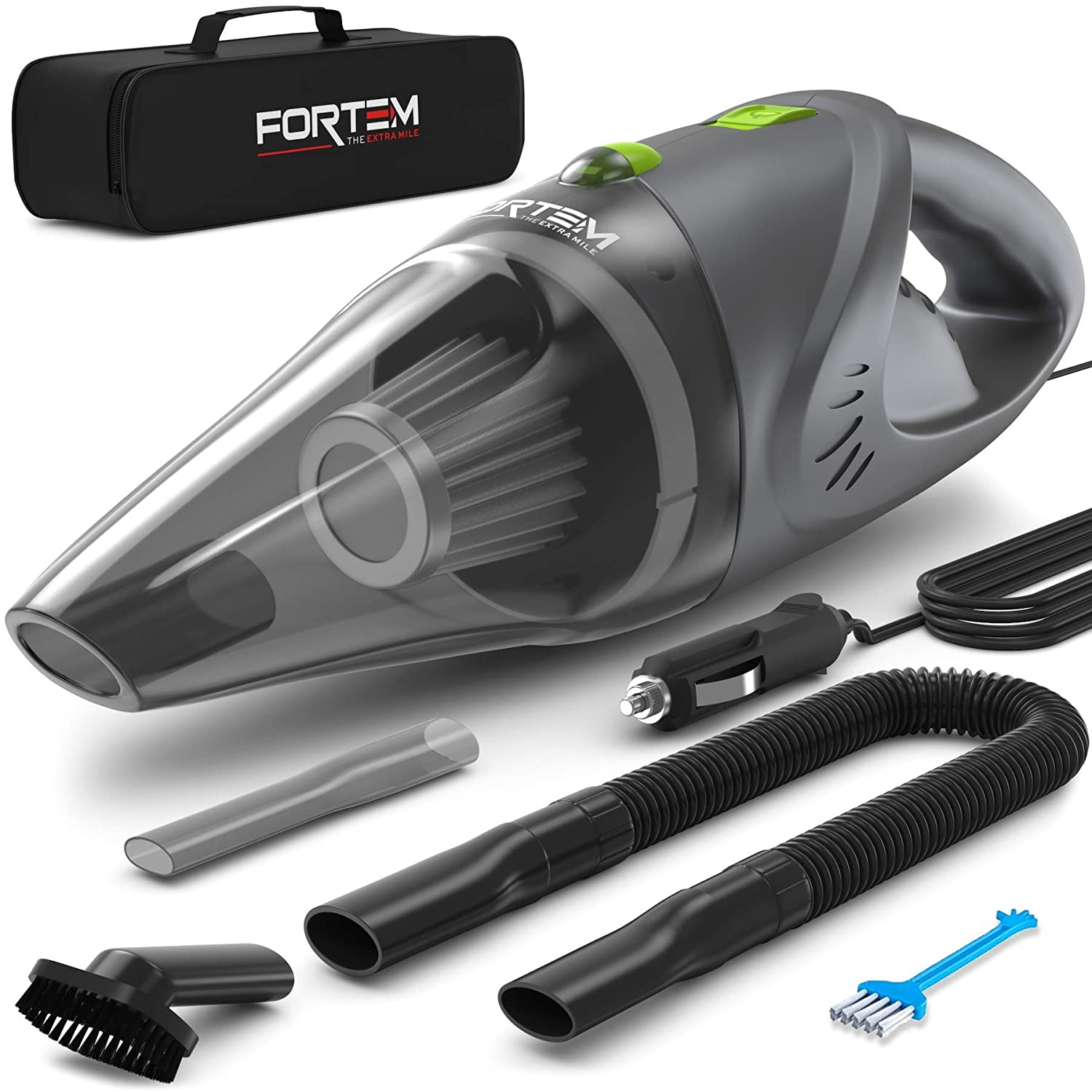 Car Vacuum Cleaner by FORTEM (120W) - 4500 Pa Suction Power - DC 12 Volt Handheld Portable Heavy Duty Design - 16 Foot Power Cord - 1 Steel Washable Filter - 3 Attachments - Carry Bag