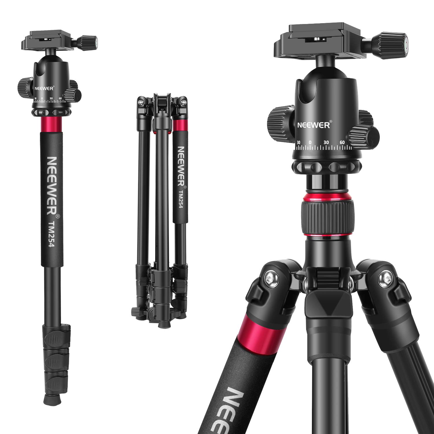 Neewer 2-in-1 Aluminum Alloy Camera Tripod Monopod 66 inches/168 Centimeters with 360 Degree Ball Head 1/4 inch QR Plate and Carry Bag for DSLRs Video Camcorders Load up to 26.5 pounds/12 kilograms by Neewer