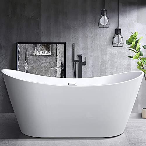 Vanity Art 70-Inch Freestanding Acrylic Bathtub Modern Stand Alone Soaking Tub with Polished Chrome, UPC Certified, Slotted Overflow Pop-up Drain - VA6517