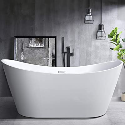 Vanity Art 70-Inch Freestanding Acrylic Bathtub | Modern Stand Alone Soaking Tub with Polished Chrome, UPC Certified, Slotted Overflow & Pop-up Drain - VA6517