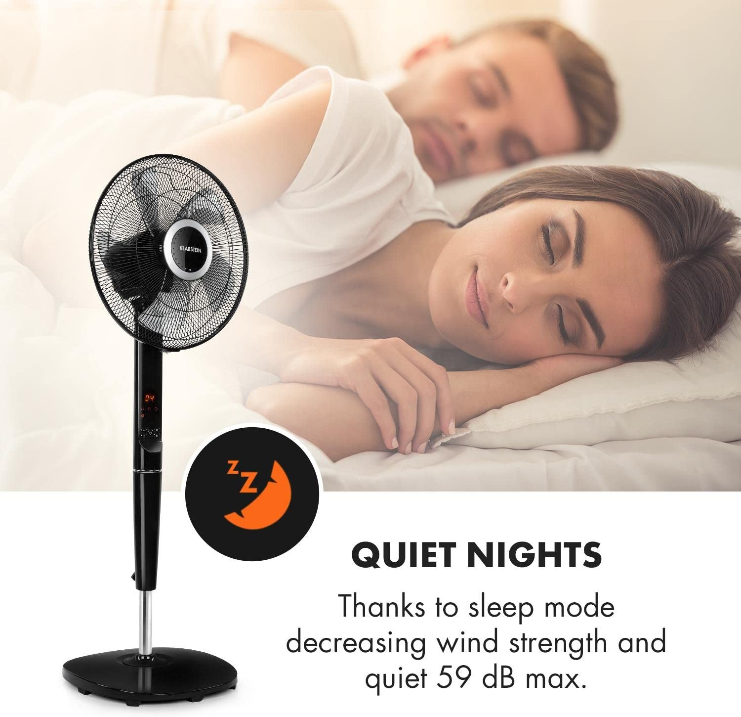Remote Control 35W Height Adjustable 12 Speeds White Suitable for Rooms up to 80m/³ 5 Blade Rotor LCD Display Fan 16 Klarstein Silent Storm Cool Edition 5 Operating Modes 41cm