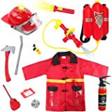 Liberty Imports Kids 10 Piece Fireman Gear Firefighter Costume Role Play Dress Up Toy Set with Helmet and Accessories…