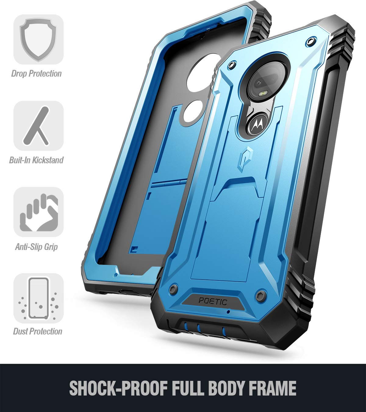 Moto G7 Rugged Case with Kickstand, Poetic Full-Body Dual-Layer Shockproof Protective Cover, Built-in-Screen Protector, Revolution Series, DO NOT FIT Moto G7 Power Or Moto G7 Play, Blue