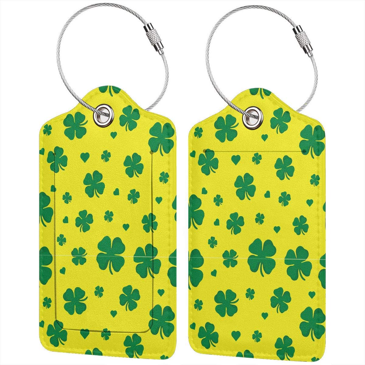 Lucaeat Clover Background Luggage Tag PU Leather Bag Tag Travel Suitcases ID