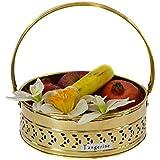 Tangerine Handcrafted Brass Round Shaped Pooja Basket- Size 7.5 inch