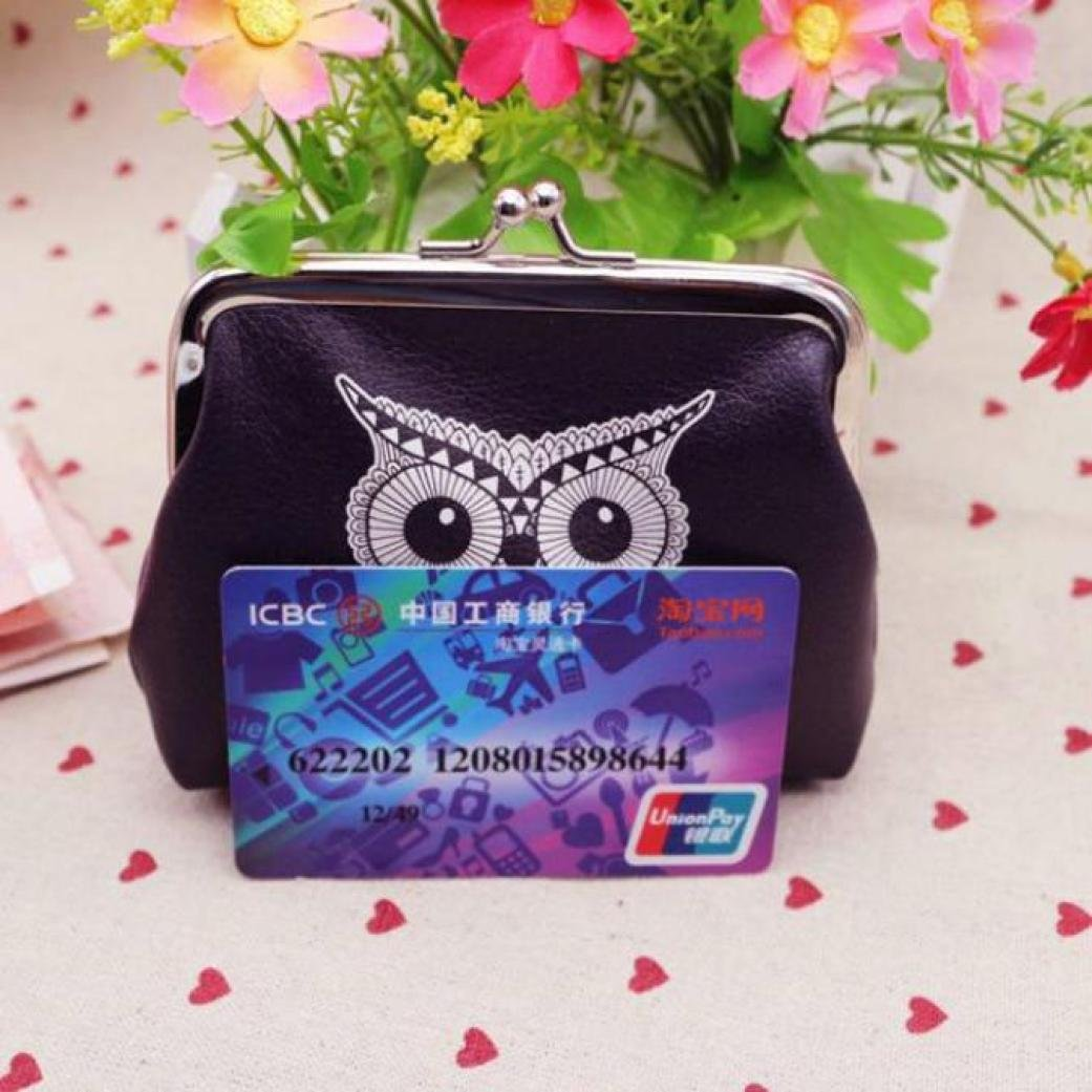 Womail Women Owl Mini Wallet Card Coin Holder Hasp Gift Handbags For Girls