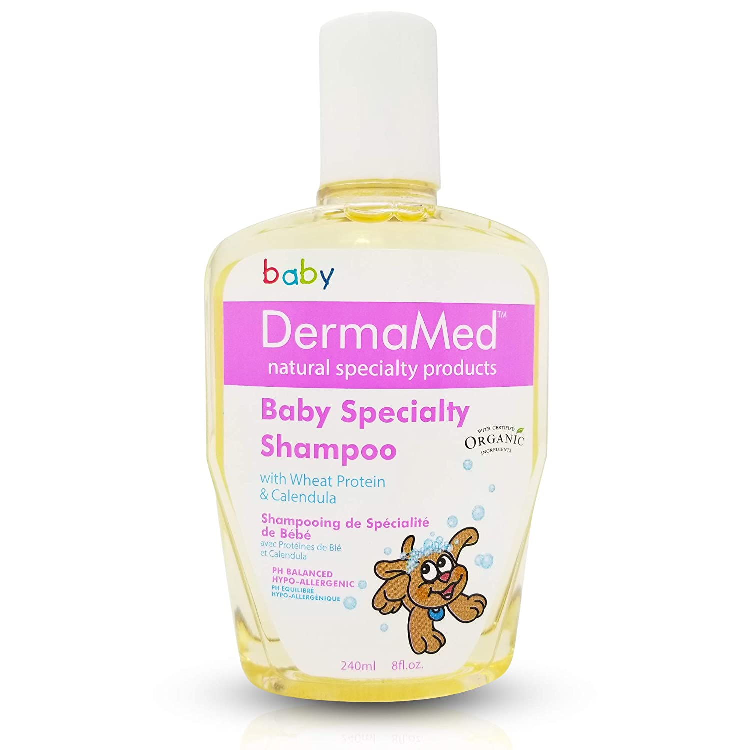 Best Organic Baby Specialty Shampoo, Cleanses, Moisterizes Delicate Scalp with Wheat Protein, Calendula, DERMAMED Made in Canada Vita Activate