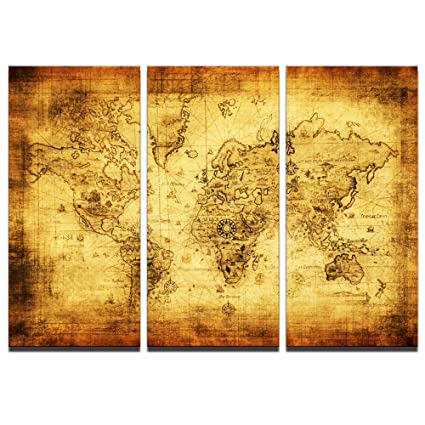 Amazon.com: Sea Charm - Retro World Map Premium Canvas Art Print 3 ...